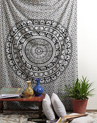 RAJRANG Indian Mandala Tapestry Wall Hanging Black & White Elephant Hippy Tapestries Twin Hippie Beach Throw College Dorm Decor Bohemian Boho Bedsheet