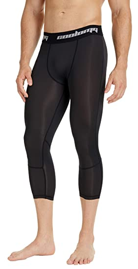 07cd0fe57 COOLOMG Compression Running 3 4 Tights Capri Pants Leggings Quick Dry for  Men Youth Boy