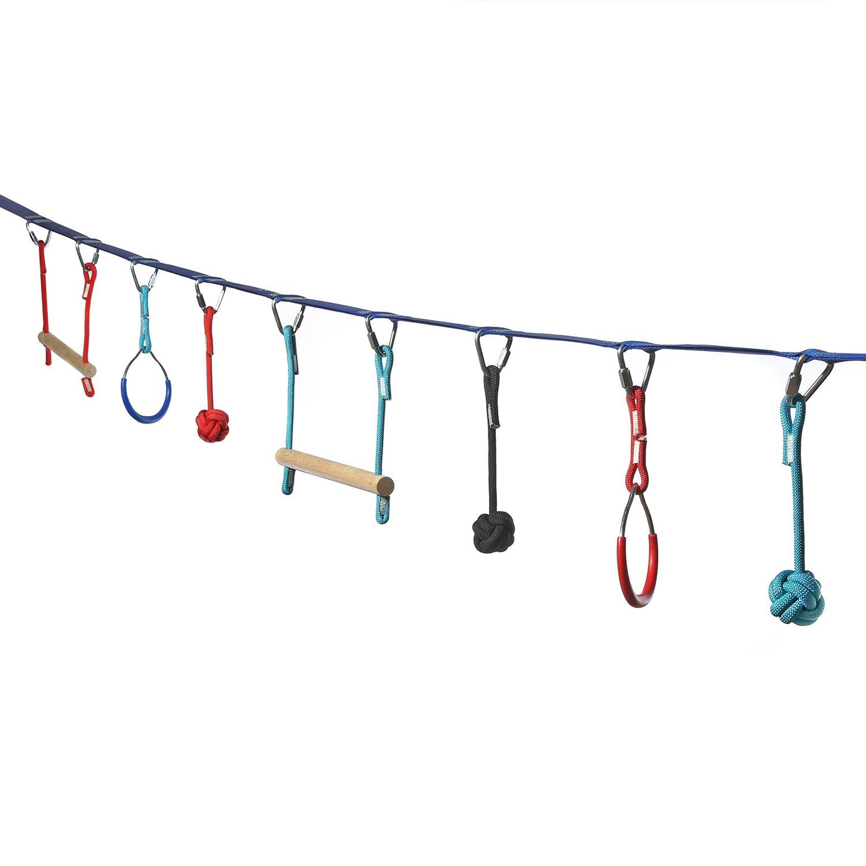 Ivation Portable 40 Foot Slackline Monkey Bar Kit - Kids Swinging Obstacle Course Set - Bars, Fists, Gymnastics Rings - 250lb Capacity - Storage Bag Included