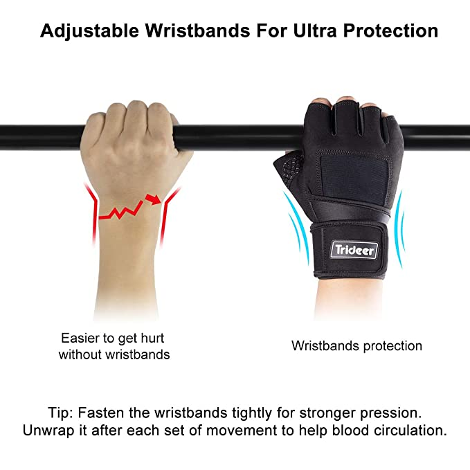 """Trideer Padded Weight Lifting Gloves with 18"""" Wrist Wraps Support, Gym Gloves for Powerlifting, Cross Training, Workout,Climbing, Best for Men & Women"""
