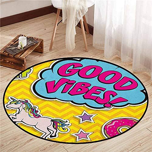 - Bedroom Rugs,Good Vibes,Fantastic Colorful Fun Design Cute Magic Unicorn Speech Bubble Stars and Donut,Children Bedroom Rugs,4'7