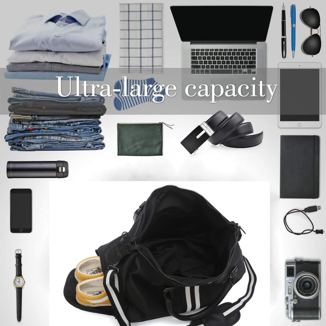 Sac de Sport Duffel pour Week-End Gym Camping pour Homme et Femme Sac de Voyage avec Compartiment Chaussures en Polyester R/ésistant /à leau