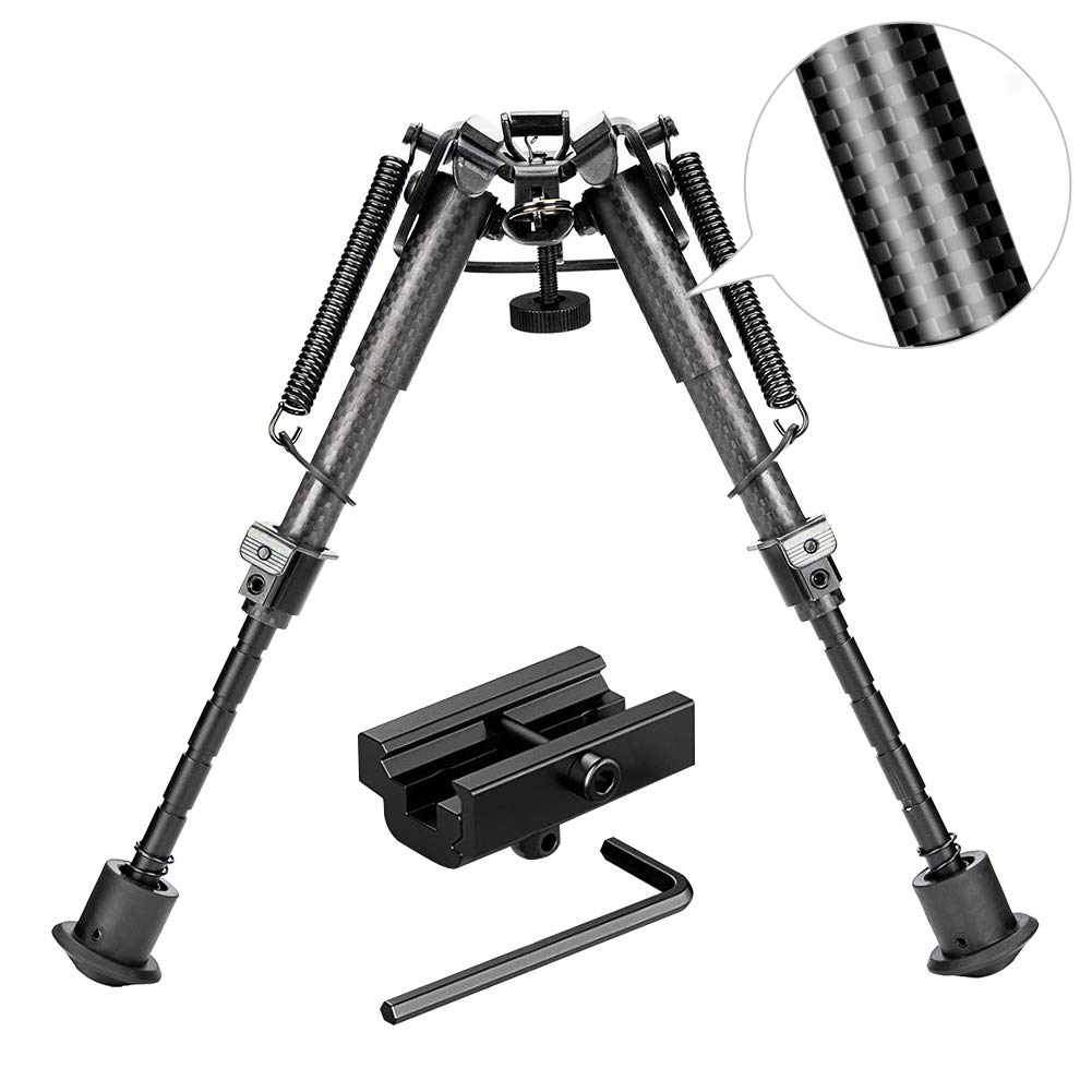 Rifle Bipod Gun Bipod Tactical Hunting Bipod 6-9 Inches Carbon Fiber Bipod with 22mm Picatinny Rail Mount Adapter for Hunting Shooting (Carbon Fiber) RioRand