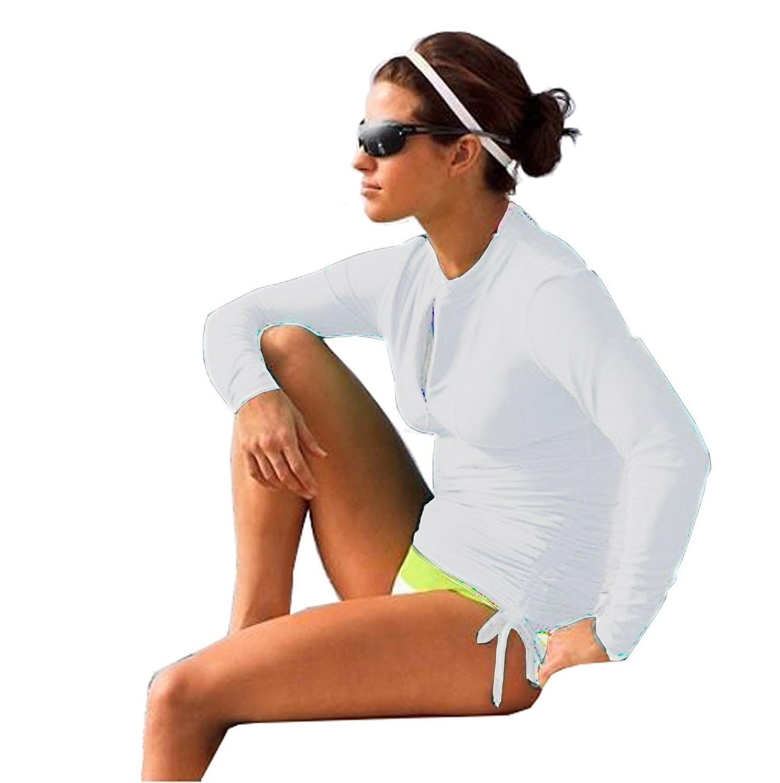 HOLYSNOW Women Zip Front Printed Long Sleeve Rashguard One Piece Swimsuit (6, White #1)