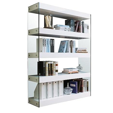 Tuoni Solution Libreria Legno Laccato Vetro Temperato Bianco