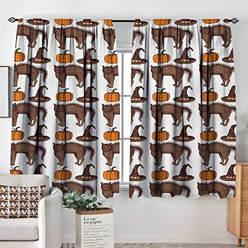 (Mozenou Halloween Custom Curtains Seasonal Vintage Pattern with Pumpkin Squash Witch Hats and Cat Figures Customized Curtains 63