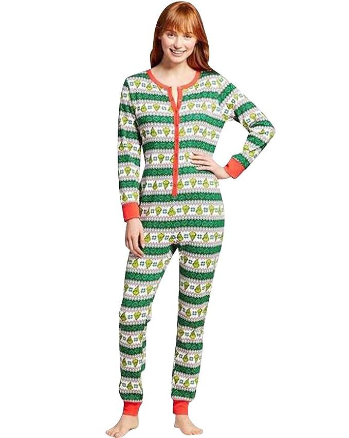 b3b978a0eb ISSHE Pijamas de Navidad Familia Adultos Pijama de Una Pieza Familiares  Manga Larga Hombre Mujer Pijamas