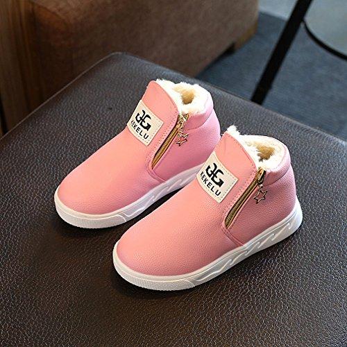 Outdoor Schlupfstiefe Leder KVbaby Gefütterte Schneestiefel Warm Sneakers Pink Winterschuhe Mädchen PU Wasserdichte Kinder Gefüttert vzBzw8