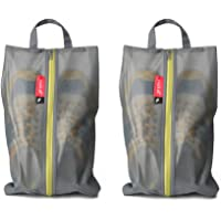 2-Pack Pack All Water-Resistant Shoe Travel Bags with Zipper (Grey)