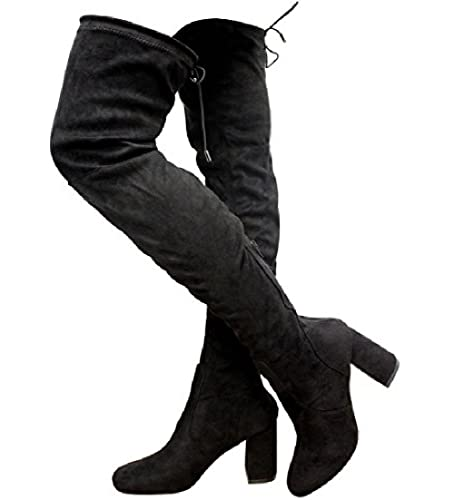 f1e7e199b8f Womens Ladies Thigh HIGH Over The Knee Lace up Stretch Boots Shoes Size 3-8   Amazon.co.uk  Shoes   Bags