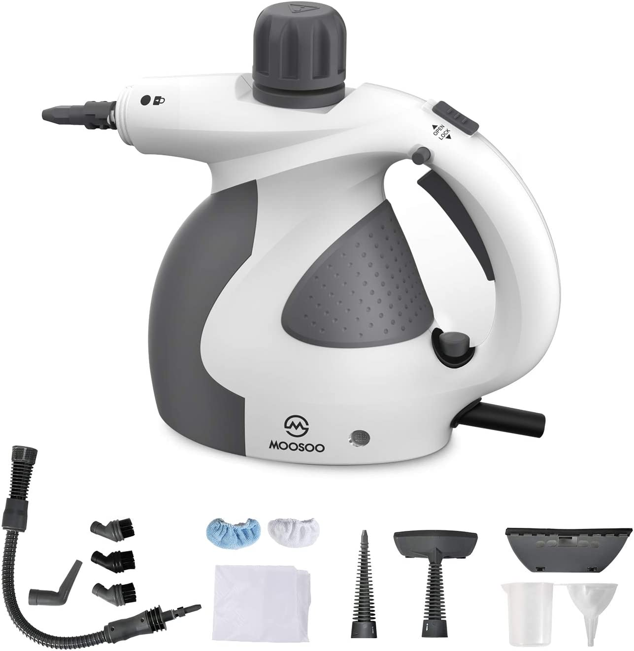 MOOSOO Steam Cleaner, Multi-Purpose Steam Cleaner for Home Use, Handheld Steamer with Various Accessories Accessories, Ideal for Upholstery, Carpet, Toilet, Bathroom, Auto SC1000 with Storage Bag