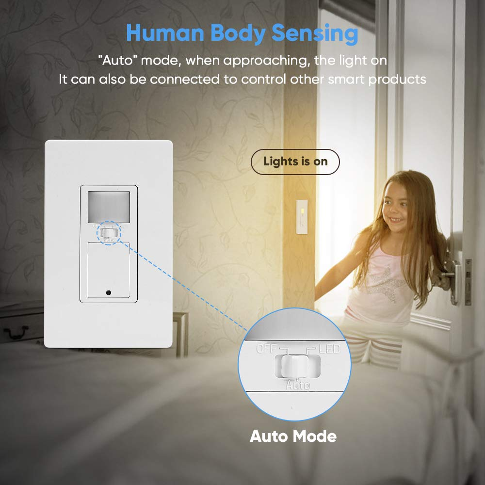 Smart Switch in Wall Wi-Fi Smart Switch with Motion Sensor,10A Motion Light Switch 3 Modes Motion Sensor Light Switch Mobile Phone APP Remote Alexa Control Sensitive Touch Wireless Light Switch