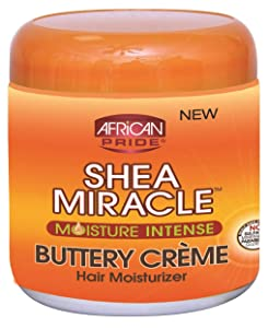 African Pride Shea Butter Miracle Buttery Creme 6 Ounce Jar (177ml) (3 Pack)
