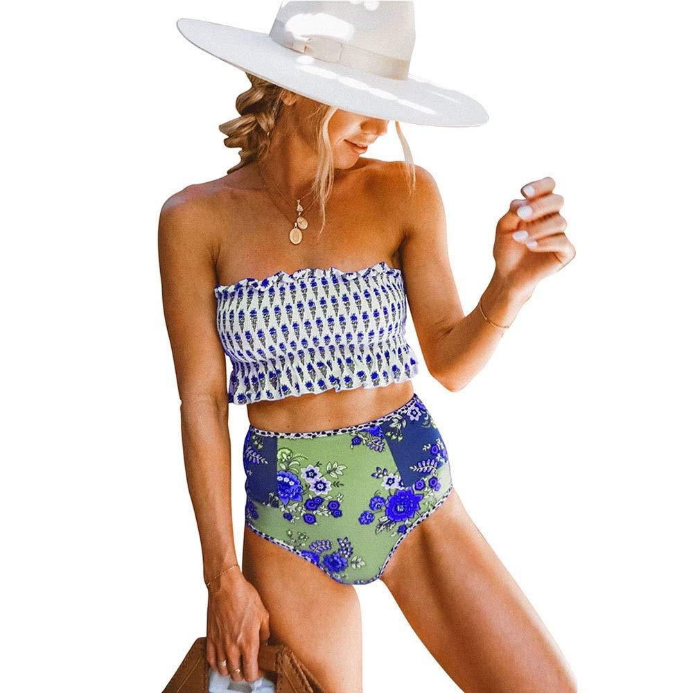 bluee Saalising Women's Sexy High Cut Floral Printed 2piece Bikini Swimwears