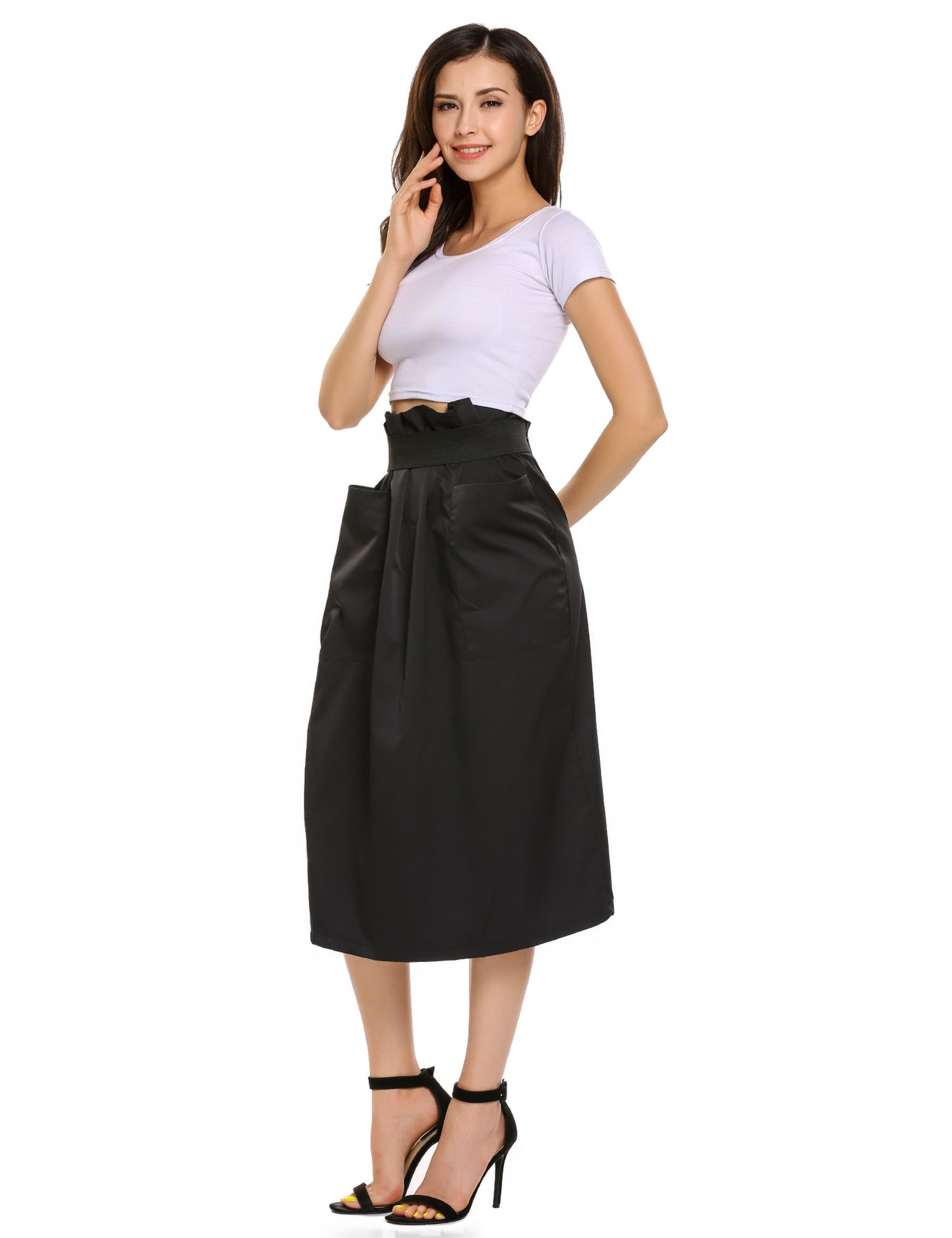 Women Casual High Waisted African A Line Maxi Long Skirt Black Small by Zeagoo (Image #4)
