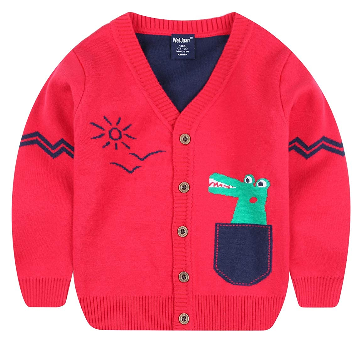 Wei juan Boys Sweater Cartoon Crocodile Long Sleeve Button Down Warm Cardigan 2-7T