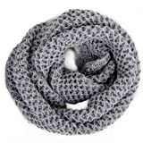 HDE Women's Winter Infinity Scarf Warm Knit Wrap Circle Loop Thick Cowl (Crochet Gray)
