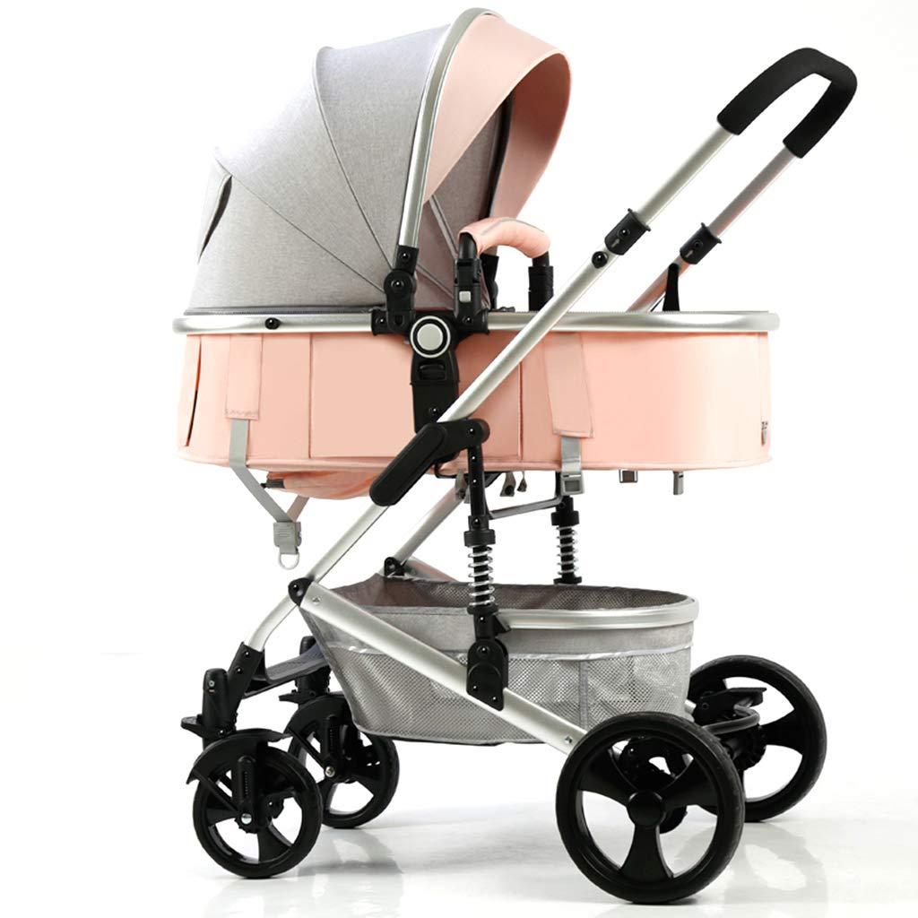 GXH- 銀製の鋼鉄ベビーカーのベビーカーが付いている多機能の新生児車は、座り、そして横になることができ、そして0-3歳のために適した折り畳み式の設計を、持っています  Pink B07S3YVLCB