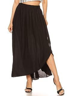 Anna-K S//M Fit Blue Ruffle Waist Flowing Semi Sheer Overlay Maxi Length Skirt