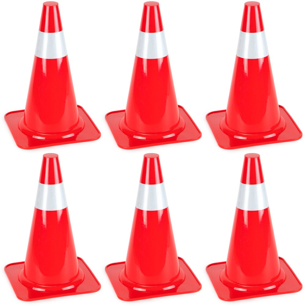 15'' High Hat Cones in Fluorescent Orange with Reflective Sleeve for Indoor/Outdoor Traffic Work Area Safety Marker & Agility Sport Training by Bolthead Industrial (6-Pack)