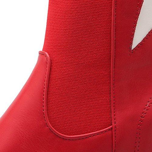 AllhqFashion Mujeres Puntera Redonda Caña Baja Cuña Colores Surtidos Botas Rojo