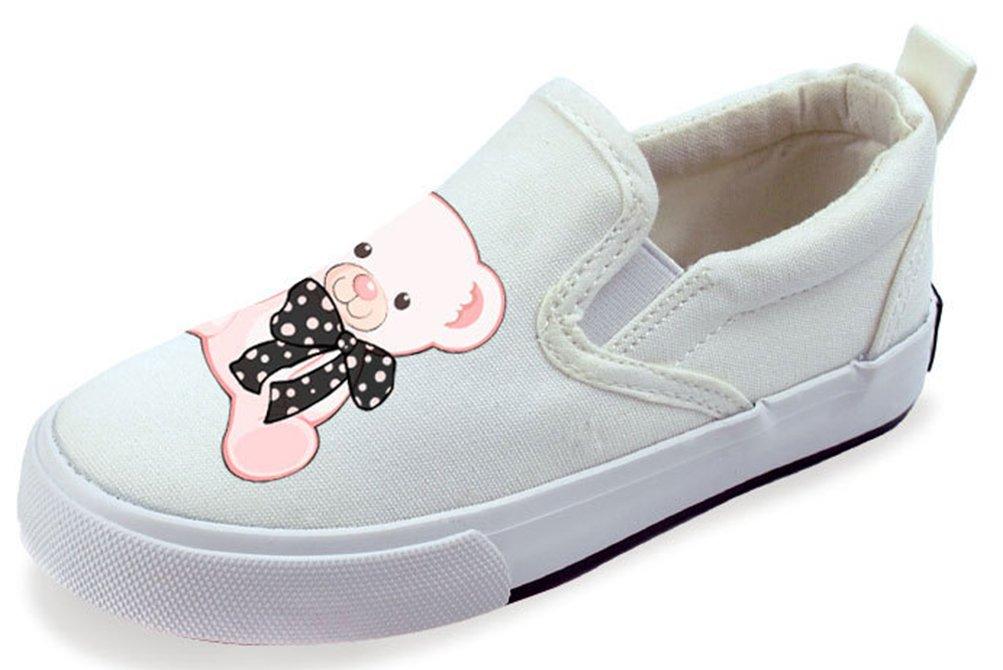 VECJUNIA Girl's Cartoon Light-Weight Elastic Round Toe Flats Slip-On Loafers (White2, 1.5 M US Little Kid)