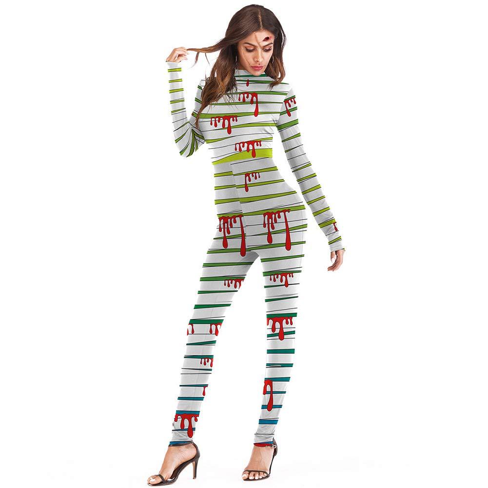 Paskyee Women's Halloween Costume Bodysuit 3D Print Bodycon Cosplay Jumpsuit