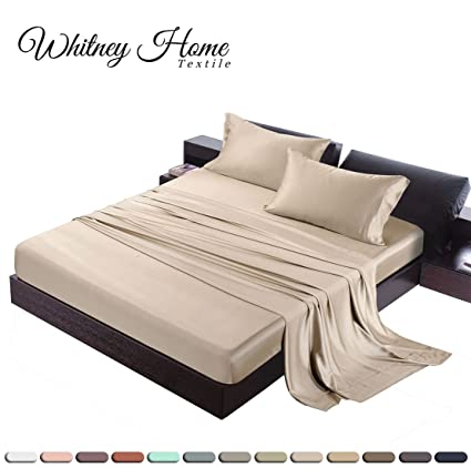 Hotel Quality Silky Soft 100% Bamboo Derived Rayon Bed Sheet Set Queen Size  (