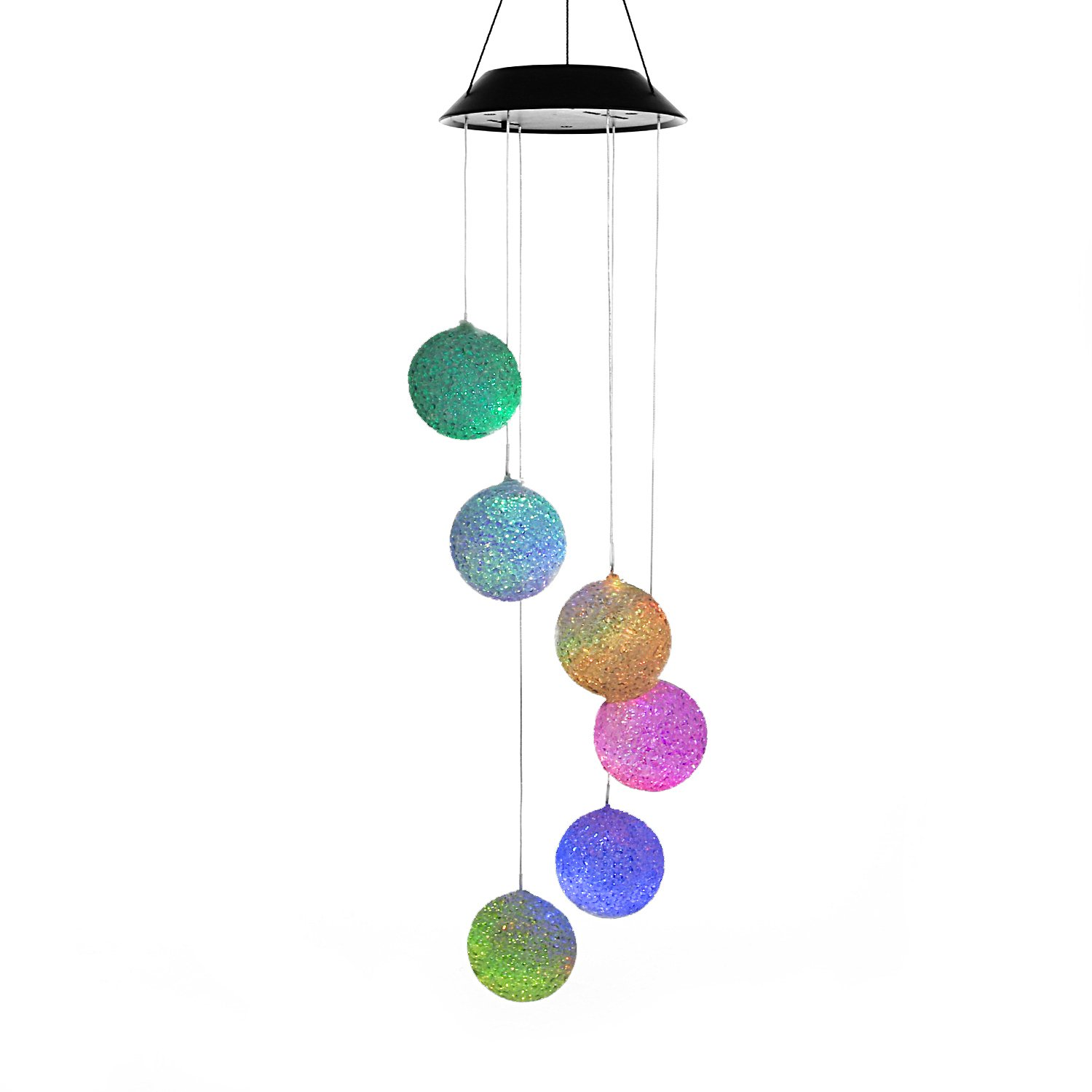 Solar-powered Changing Color Mobile Light /w Swivel Clip Hook Hanger, ANZOME Spiral Spinner Windchime Outdoor Windbell Wind Spinner Chime LED Lamp