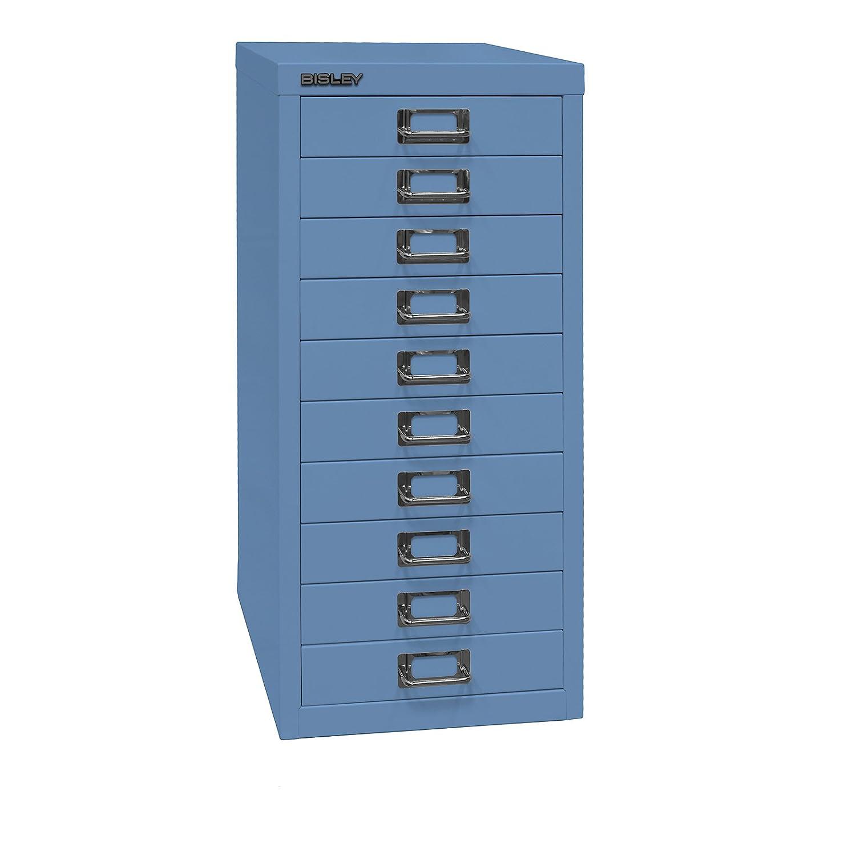 Bisley MultiDrawer, Serie 29, DIN A4, 10 cassetti, Metallo, 605 Blu, 38 x 27,9 x 59 cm L2910605