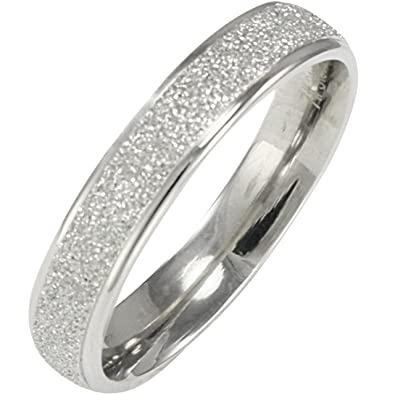 stainless steel sparkle 38mm band ring women size 5 - Wedding Band Ring