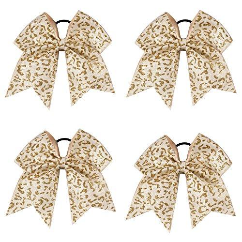 CN Jumbo Glitter Cheer Bow Large Hair Bow With Pinytail Holder Elastic Hair Band For School Girls Cheerleader Teens Pack of 4 (Cheerleading Hair Ties)