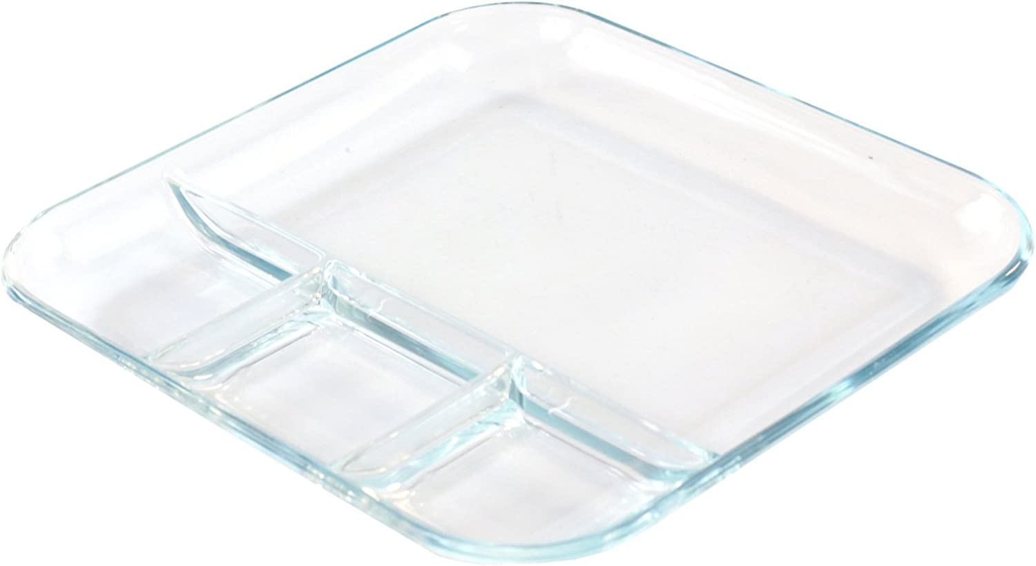 Glass Compartment Dish Asian Cuisine Set of 2 Tapas
