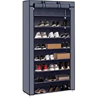 PATIOSNAP 8-Tier Shoe Rack Canvas Shoe Storage Cabinet, Shoe Rack Standing for Living Room, Hallway, Shoe Organiser with…