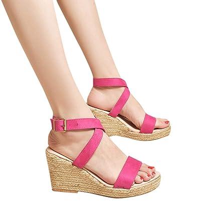 735c8bbd2f3df AIMTOPPY Summer Wedges Sandals Shinestone Waterproof Platform Open Toe Word  Buckle Women's Shoes