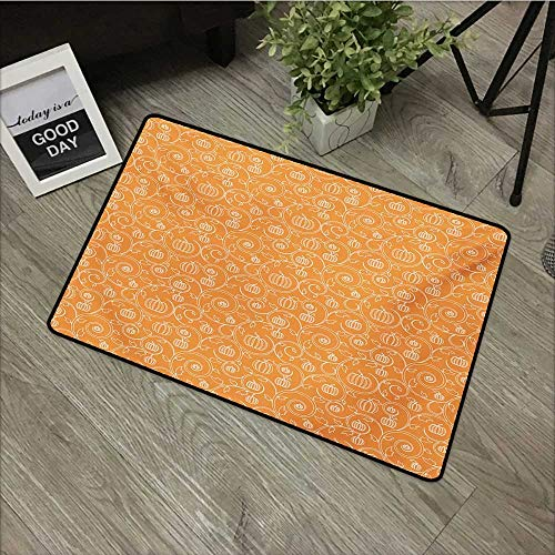 Interior Door mat W24 x L35 INCH Harvest,Pattern with Pumpkin Leaves and Swirls on Orange Backdrop Halloween Inspired,Orange White Easy to Clean, no Deformation, no Fading Non-Slip Door Mat Carpet]()