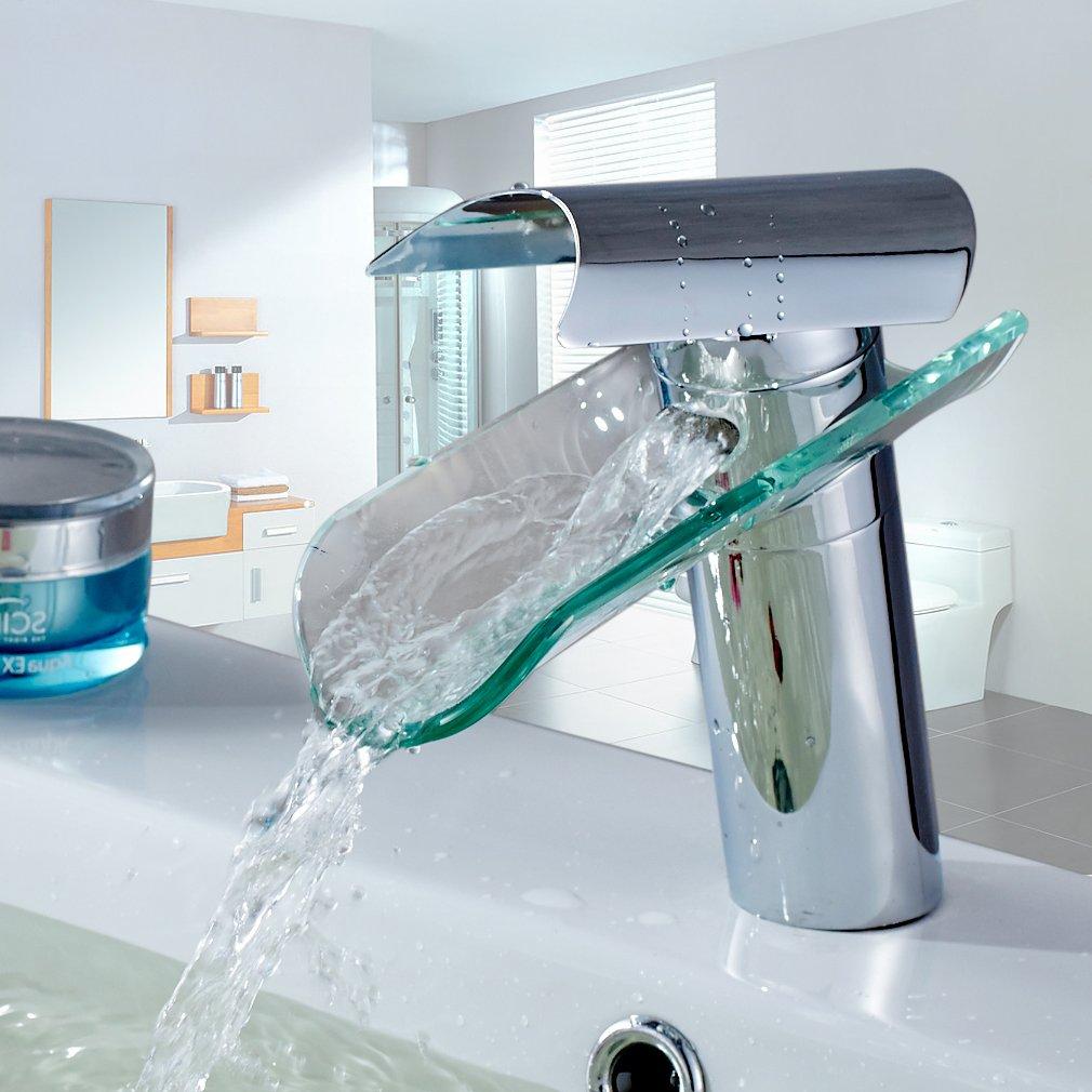 auralum elegante rubinetto in vetro per lavabo rubinetto per cucina bagno lavandino vasca da bagno