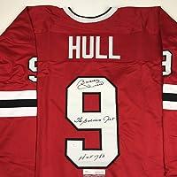 $114 » Autographed/Signed Bobby Hull HOF 1983 The Golden Jet Chicago Red Hockey Jersey JSA COA