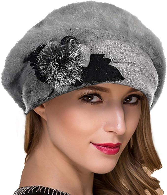 BUGATTI Baskenmütze Barett Mütze Wintermütze Damen Strickbaske Wolle schwarz