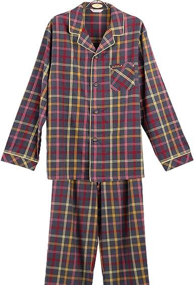 pijamas Otoño Hombres Serie clásica de la Tela Escocesa ...