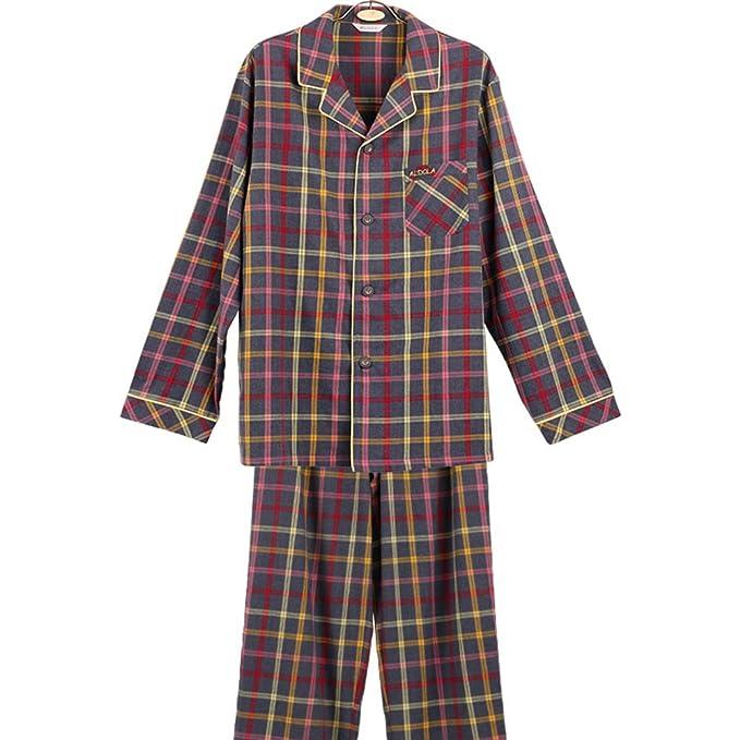 Otoño pijama de los hombres de/ pijamas de la serie clásica de la tela escocesa