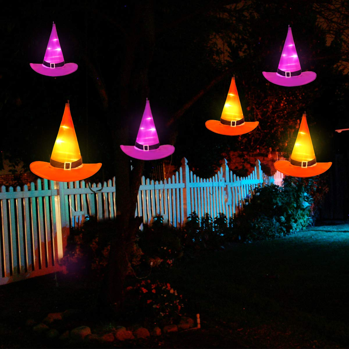 YUNLIGHTS Halloween Decorations 6Pcs Witchs Hat Decor Light 33ft String Lights for Indoor,Outdoor,Garden, Trees, Party Decor by YUNLIGHTS