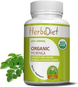 Moringa Oleifera Leaf Powder Tablets - 500mg Certified Organic Pills - Energy, Metabolism, Immune Booster | Complete Green Detox Superfood Supplement - 100% Natural RAW Vegan Non-GMO (600 Tablets)