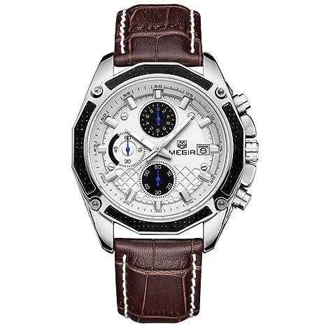 North King Reloj de Cuarzo Relojes Fecha Pantalla Hombres de Cuero de clásico Impermeable Deportivo Relojes