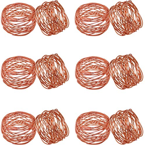 SKAVIJ Round Mesh Decorations Copper Napkin Rings Set of 12 for Wedding Banquet Dinner Decor -