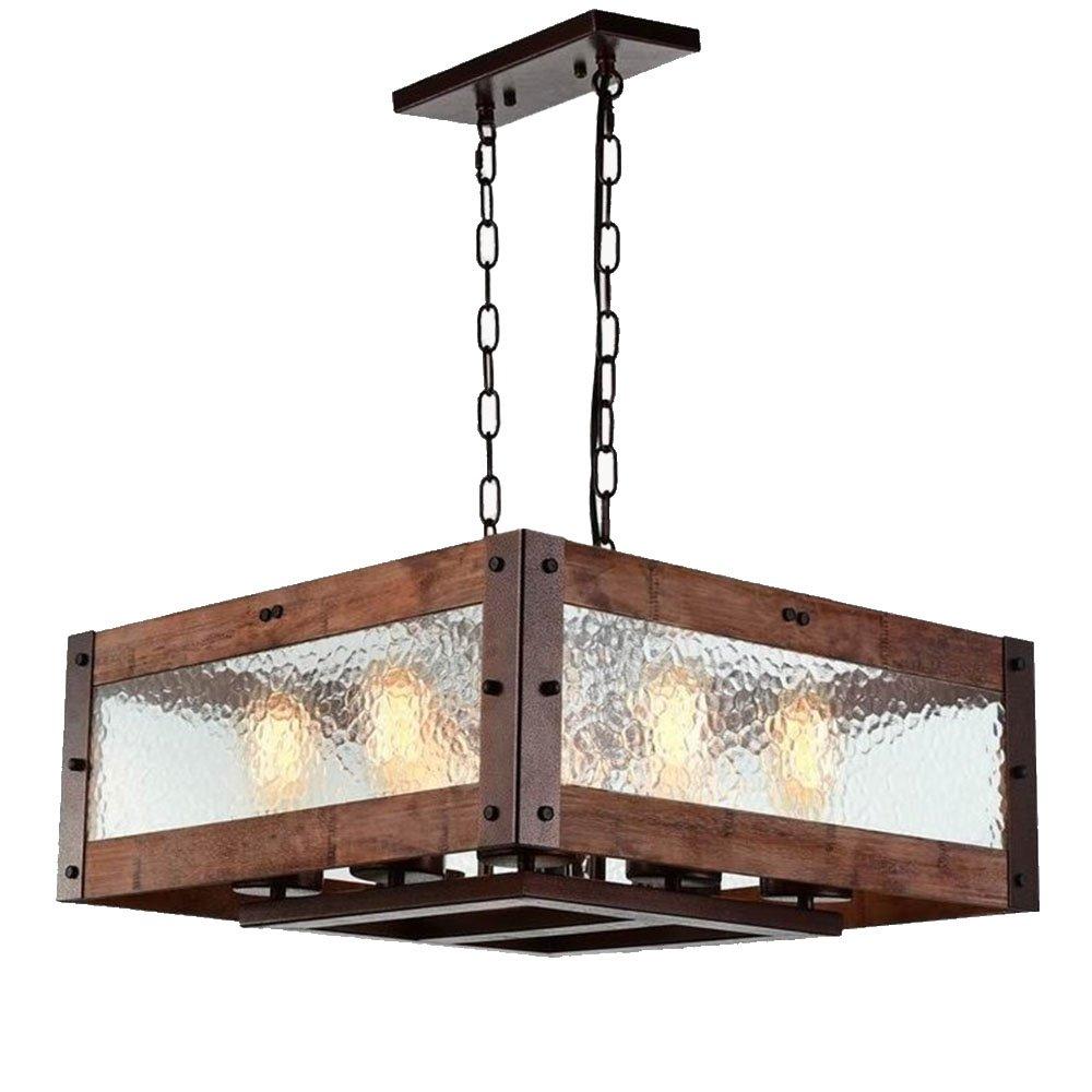 Baiwaiz Rustic Kitchen Island Light, 8-Light Square Wood and Metal Pendant Lighting with Water Glass Panels Retro Industrial Chandeliers Adjustable Bronze Rust Finish Edison E26 BW17030