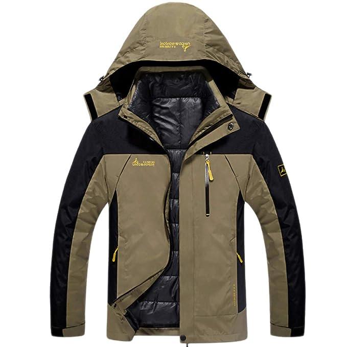 FCBDXN Abbigliamento Da Uomo Giacca Da Montagna Outdoor Trekking Giacche  Snowboard Cappotto Alpinismo Soprabito 3 In 1 Cappotti Caldi  Amazon.it  ... 69857640f222