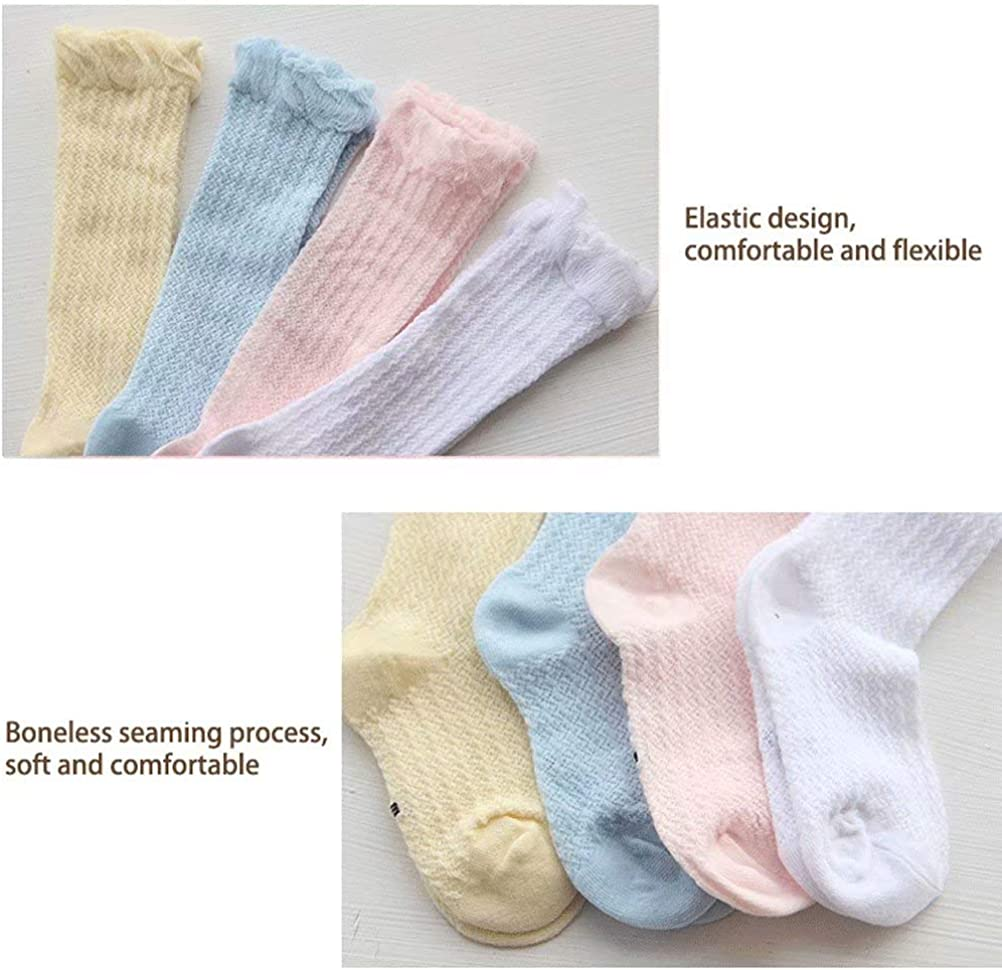 Brave Tour 4 Pairs Baby Girls High Socks-Mesh Breathable Cotton Ruffled Tube Sock