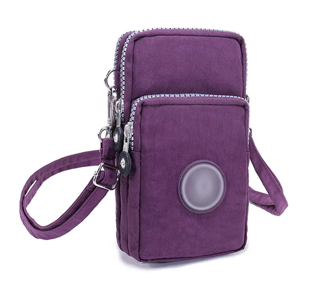 Amamcy 3 Layers Crossbody Wrist Shoulder Bag Storage Purse Waterproof Nylon Strap Cellphone Pouch for iPhone