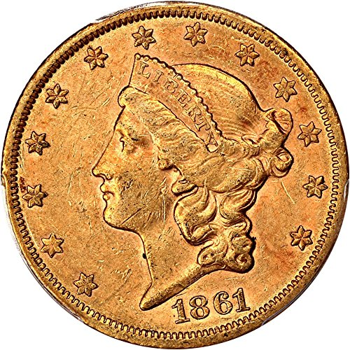 1861 S 20 Liberty Gold Twenty Dollar AU58 PCGS - 1861 Gold Dollar